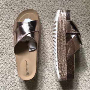 Rose gold espadrille platform sandal